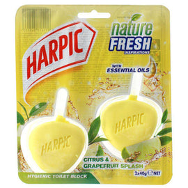 Harpic Pk2 X 40G Hygienic Toilet Block Citrus & Grapefruit Splash