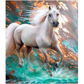 Diamond Art Picture Half Drill Size 30X40 White Horse