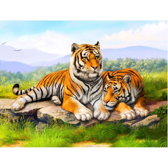 Diamond Art Picture Half Drill Size 40X50 Wild Tigers