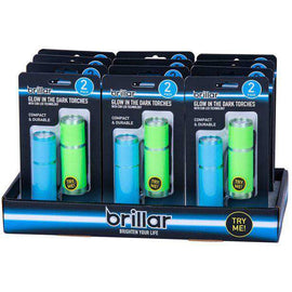 Brillar COB LED Glow-In-The-Dark Pocket Torch 2Pk