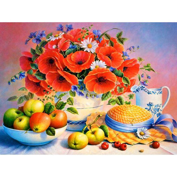 Diamond Art Picture Half Drill Size 40X50 Flowers & Fruits