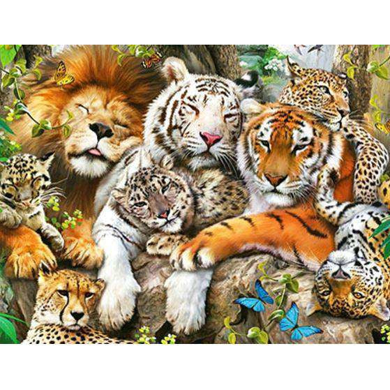 Diamond Art Picture Half Drill Size 30X40 Wildlife Predators