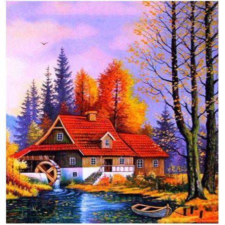 Diamond Art Picture Half Drill Size 30X40 Wood House