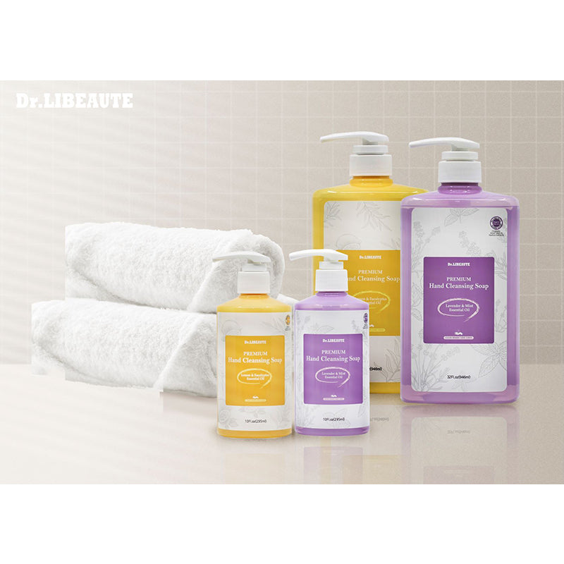 Dr. Libeaute Premium Hand Cleansing Liquid Soap, Lavender & Mint Natural Essential Oils, 64 Fl oz Refill