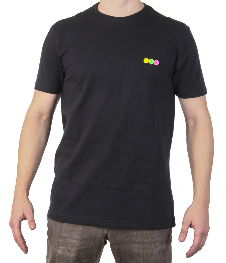 T-shirt nera 3 bottoni