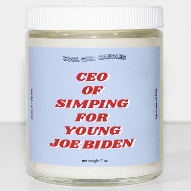 ceo of simping for young joe biden candle joe biden merch democrat gift ideas