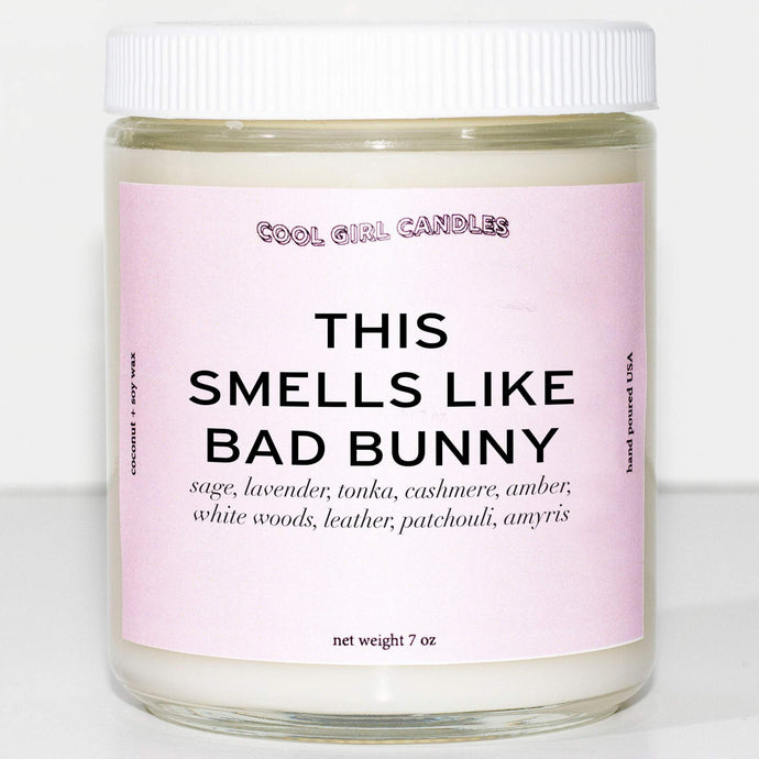this smells like bad bunny candle by cool girl candles