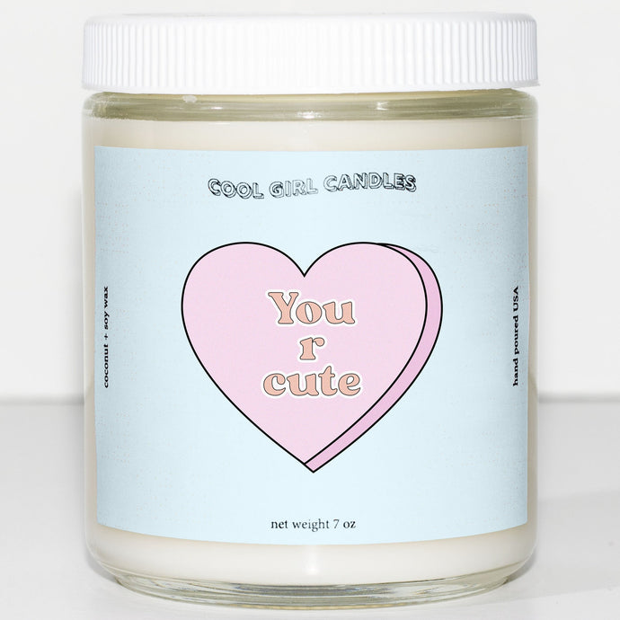 you are cute candy heart candle cute valentines day candle