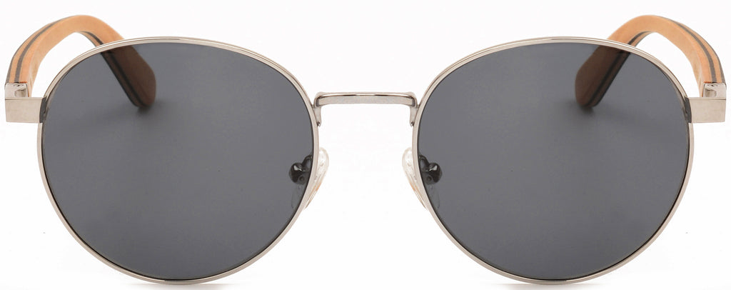 Round Titanium Zebra Wood Sunglasses James 2