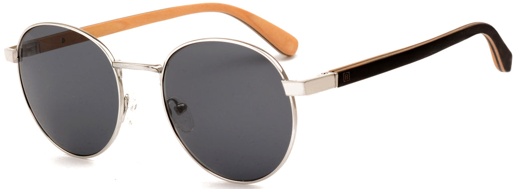 Round Titanium Wood Sunglasses James