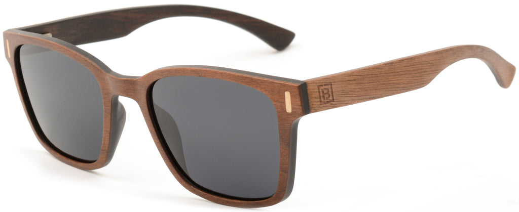 Square walnut wood polarised sunglasses infinite