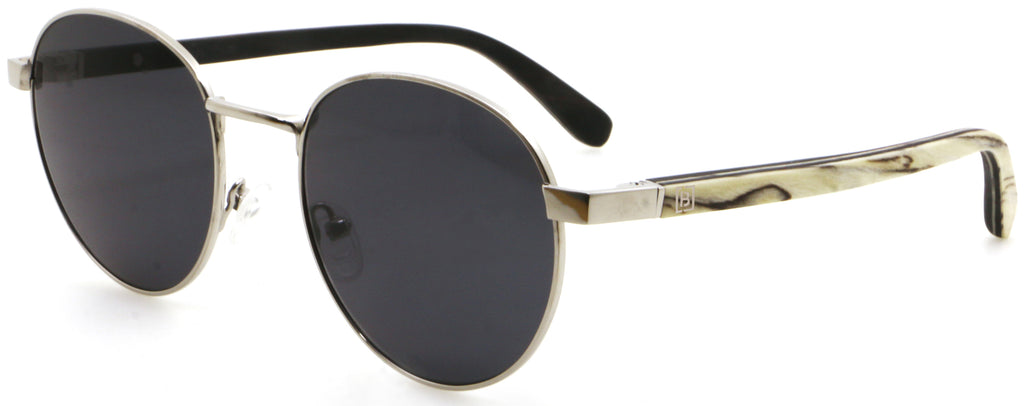Round Titanium Zebra Wood Sunglasses James