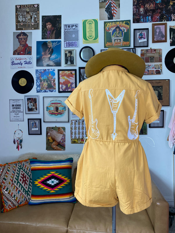 Yellow Zip Up Romper - Mamie Ruth
