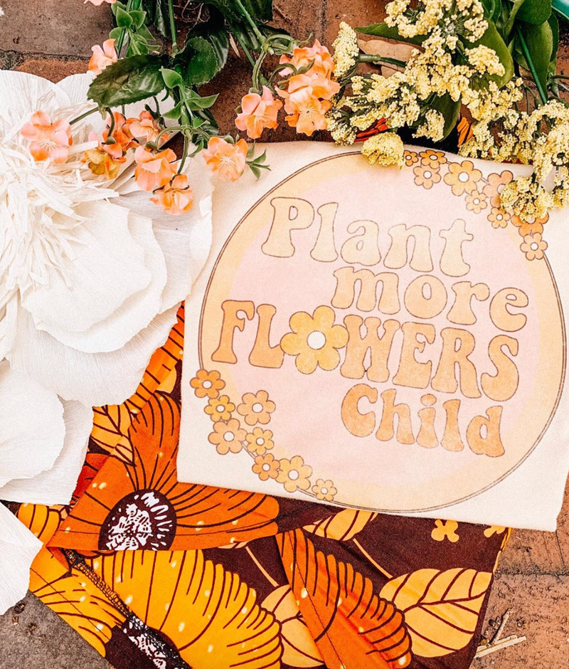 Plant more flowers child tee - Mamie Ruth