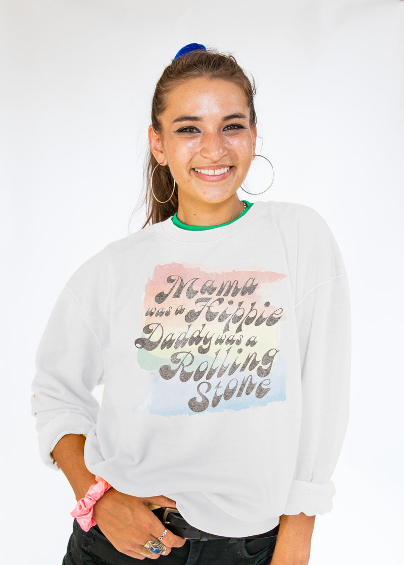 "white crewneck sweatshirt with watercolor rainbow image with text ""Mama was a hippie, Daddy was a rolling Stone"""""