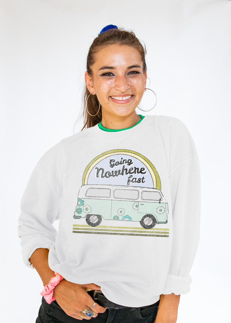 "white crewneck sweatshirt with hippy bus and green rainbow with text ""going nowhere fast"""