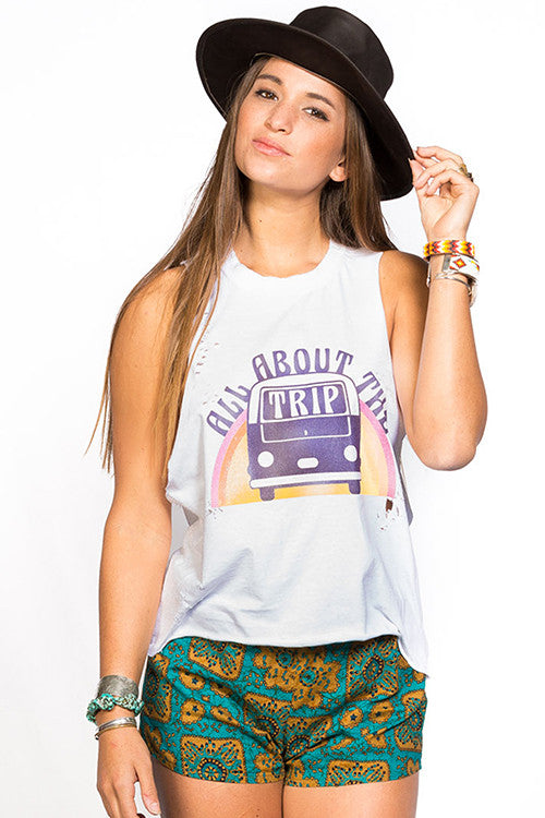 All about the trip vintage distressed graphic tee