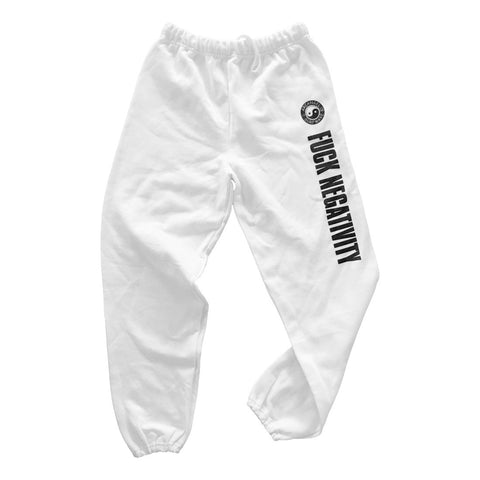 Fuck Negativity White Sweatpants (SRF-036)