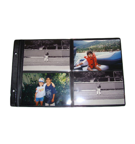 101-R - 4x6 Black Foldout (8 Pictures Per Page). Package consists of 12 sheets with extension post.