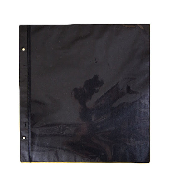 108-R - Black Single Sheets With Single Pocket Per Side (11 3/4 x 12 1/2 Fits Album 105). 12 sheets per package  plus extension posts.