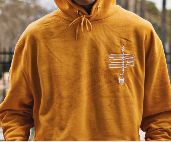 "Gold ""Blueprint"" Champion SoaR hoodies"