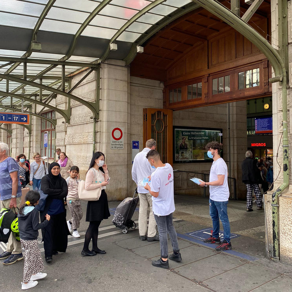 Swiss Rockets provided free face masks to the citizens in Zurich, Bern & Basel