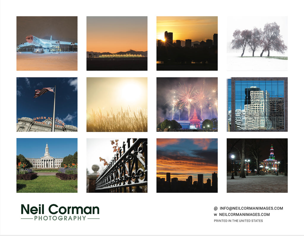 The 2021 Denver, Colorado calendar features 12 images from around the Denver metro area. Images including Union Station, Civic Center Park, Downtown, Sloans Lake and City Park.