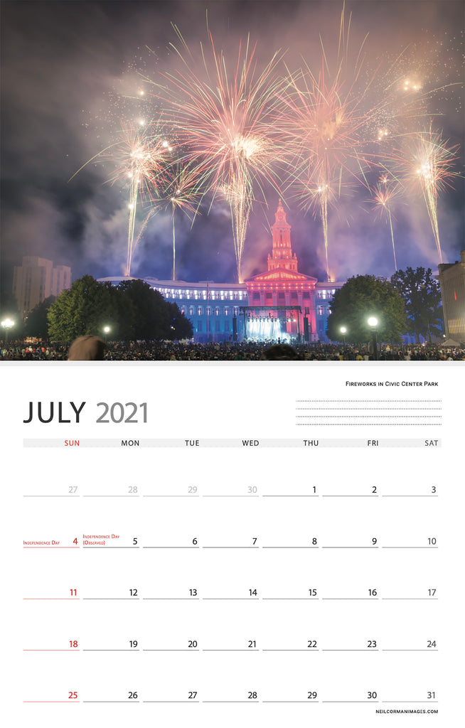 The month of July in the 2021 Denver, Colorado calendar