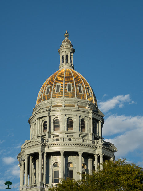 Colorado State Capitol Under Blue Sky