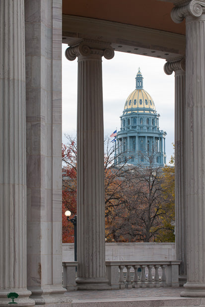 Colorado Capitol through the Columns