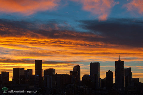 Denver Skyline at Sunrise in November
