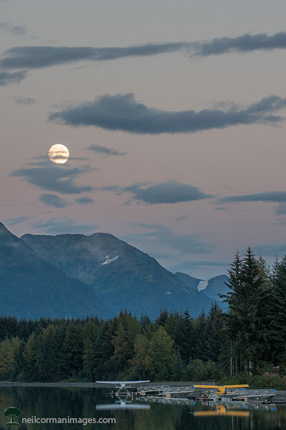 Evening in Juneau with a Full Moon