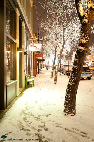 Downtown Littleton during Snow Storm