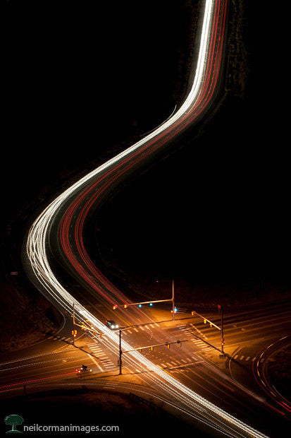 Street Traffic at Night from Above