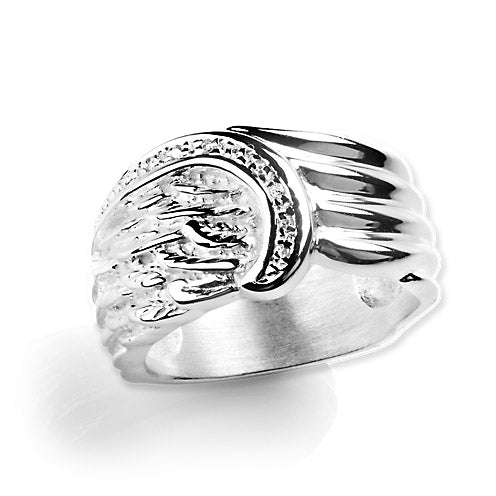 Fly with Me, Flügel Ring aus Silber mit Zirkoniapaveé.