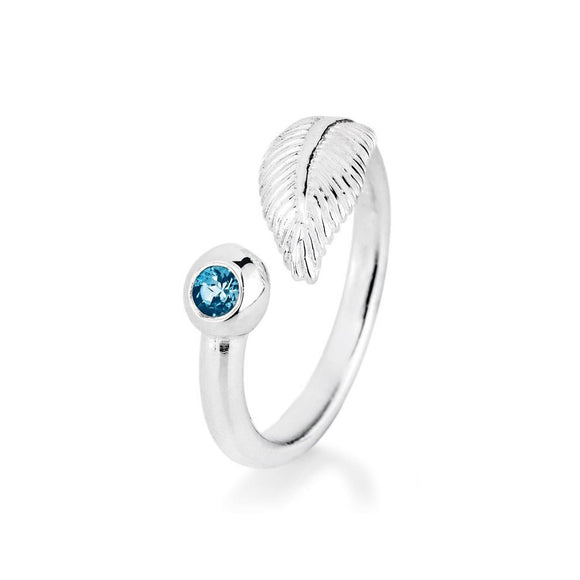 Light as a Feather, Feder Ring aus Silber mit Topas.