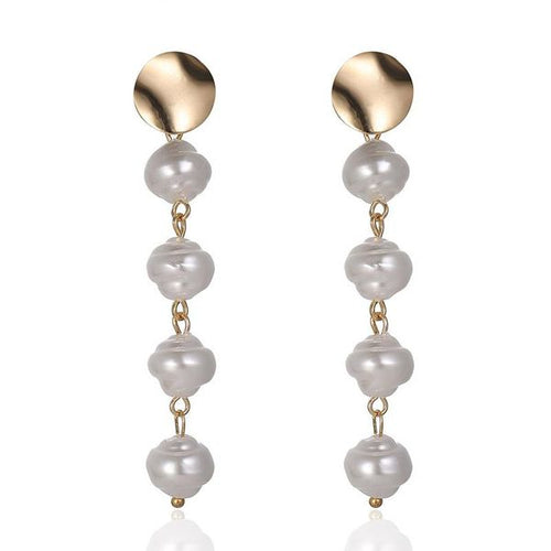 Drop Pearl Earrings with Gold Detail