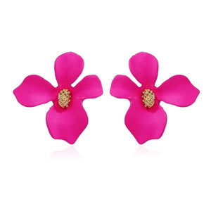 Flower Stud Earrings Hot Pink