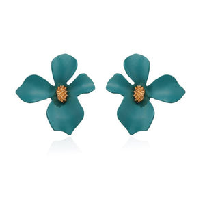 Flower Stud Earrings Green