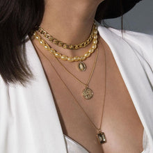 Load image into Gallery viewer, Four Layered Necklace in Gold and Pearl
