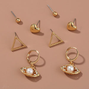 Four Set Essential Earrings in Gold