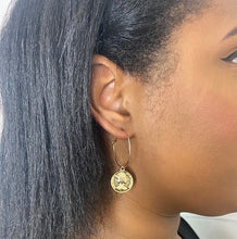 Load image into Gallery viewer, Queen Elizabeth Coin Hoops in Gold