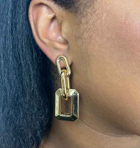 Drop Chain Retro Earrings in Gold