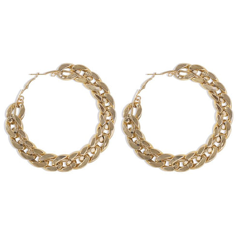 Large chain earrings in Gold