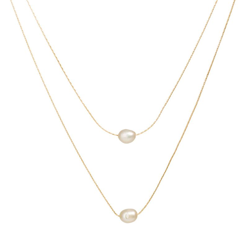 Multi-layered Freshwater Pearl Necklace in Gold