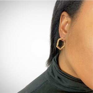 Pentagon Geometric Textured Earring in Gold