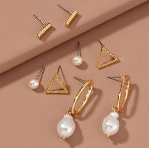 Four Pack Essential Earrings with Pearls