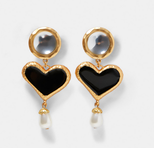 Black Heart and Pearl Drop Earrings