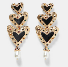 Load image into Gallery viewer, Three Heart Drop Earrings with Pearls & Rhinestones