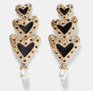 Three Heart Drop Earrings with Pearls & Rhinestones